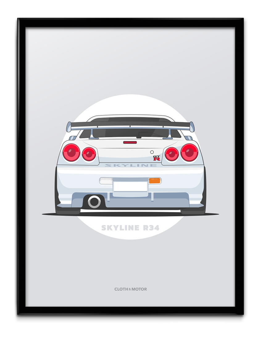 R34 drawing drift car. Skyline r gtr x