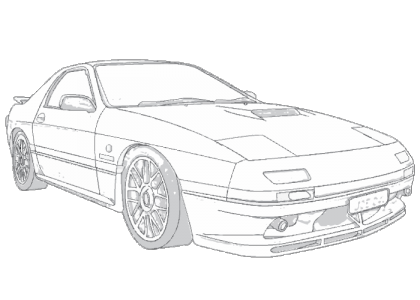 Rx7 drawing rear. Mazda rx aerpro