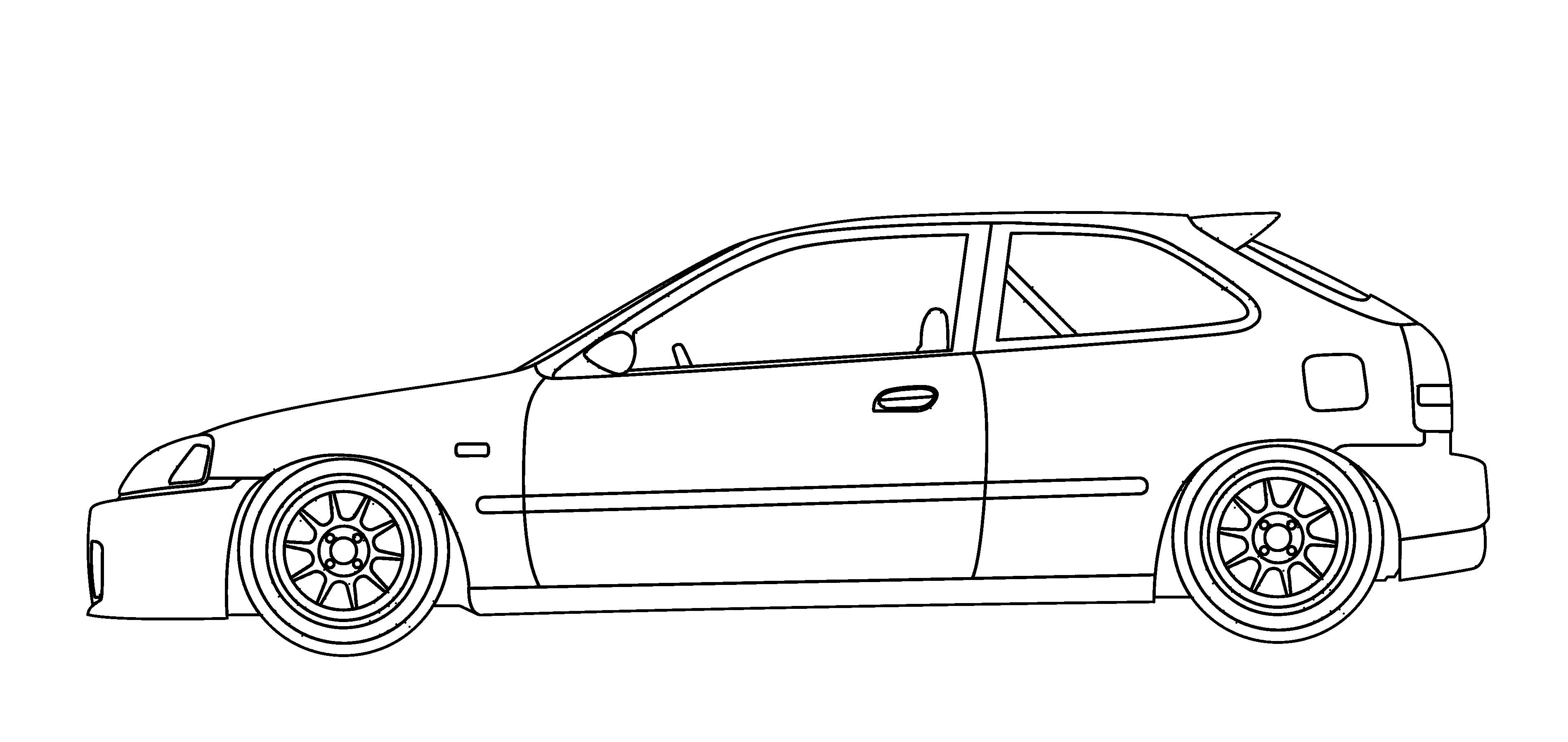 Rx7 drawing ricer car. Honda civic ek hondas