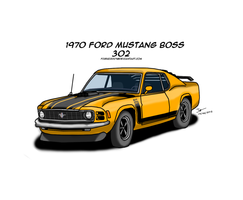 Drawing mustang cartoon. Ford boss by