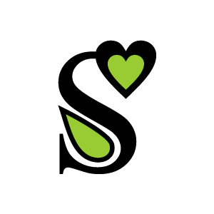 S clipart green. Heart alphabet with black