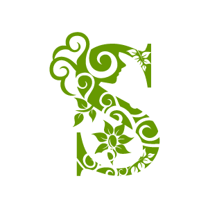 S clipart green. Flower alphabet with white
