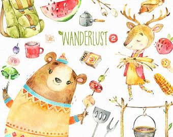 S clipart outing. Wanderlust picnic watercolor animals