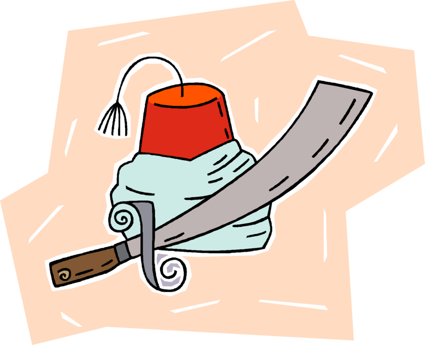Saber clipart curved sword. Turkish fez hat and
