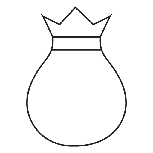 Sack drawing gift bag. Stroke icon transparent png