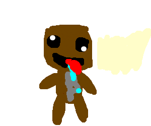 Retarded by snap hiss. Sackboy drawing image freeuse