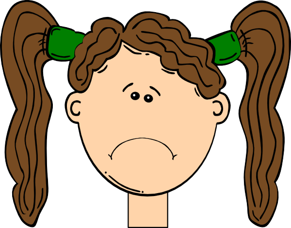 Sad cartoon png. Brown hair girl clip