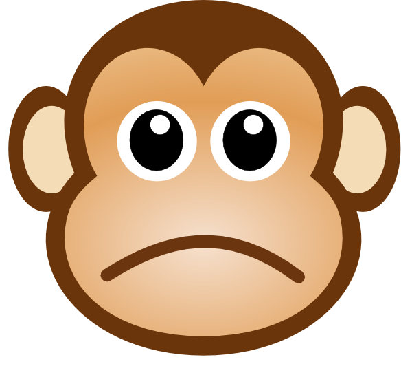 Monkey clip art at. Sad clipart graphic library