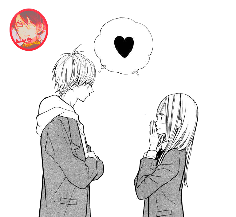Anime render by giselle. Sweet drawing couple graphic library stock