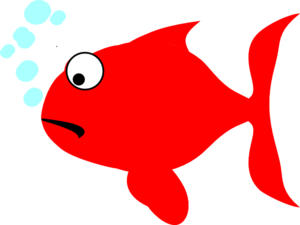 Sad fish png. Red and turquoise clip