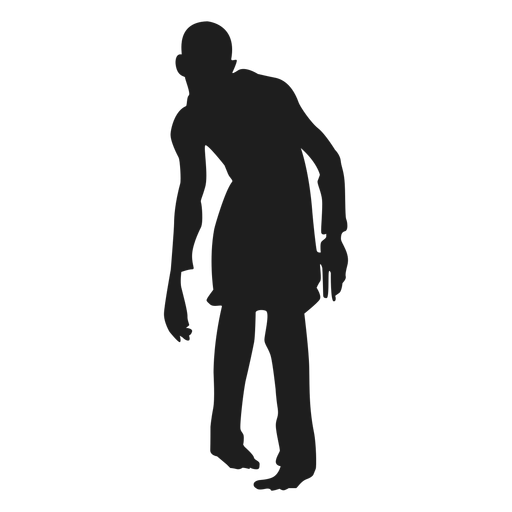 Vector zombie stencil. Male silhouette transparent png