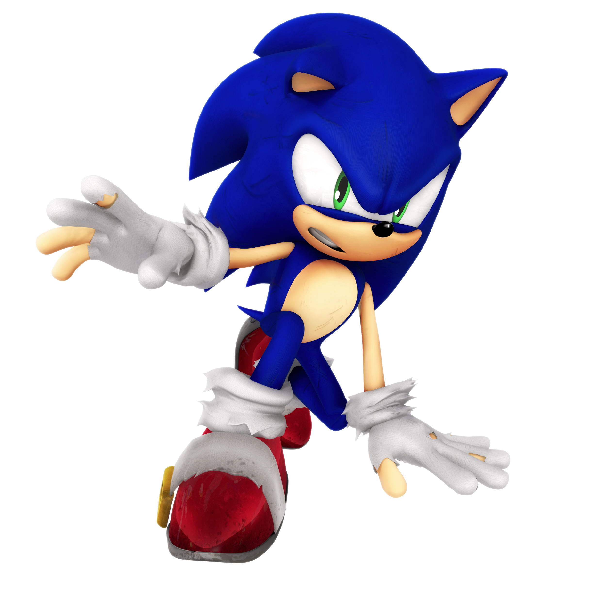 Sad sonic png. Battle damage render by