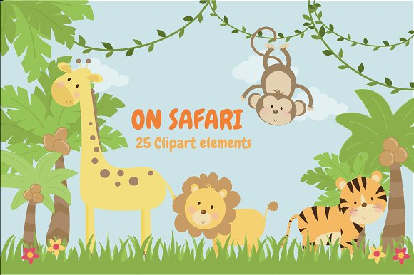 Safari clipart. On illustrations creative market