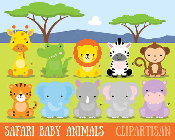 Safari clipart child. Baby animals jungle zoo