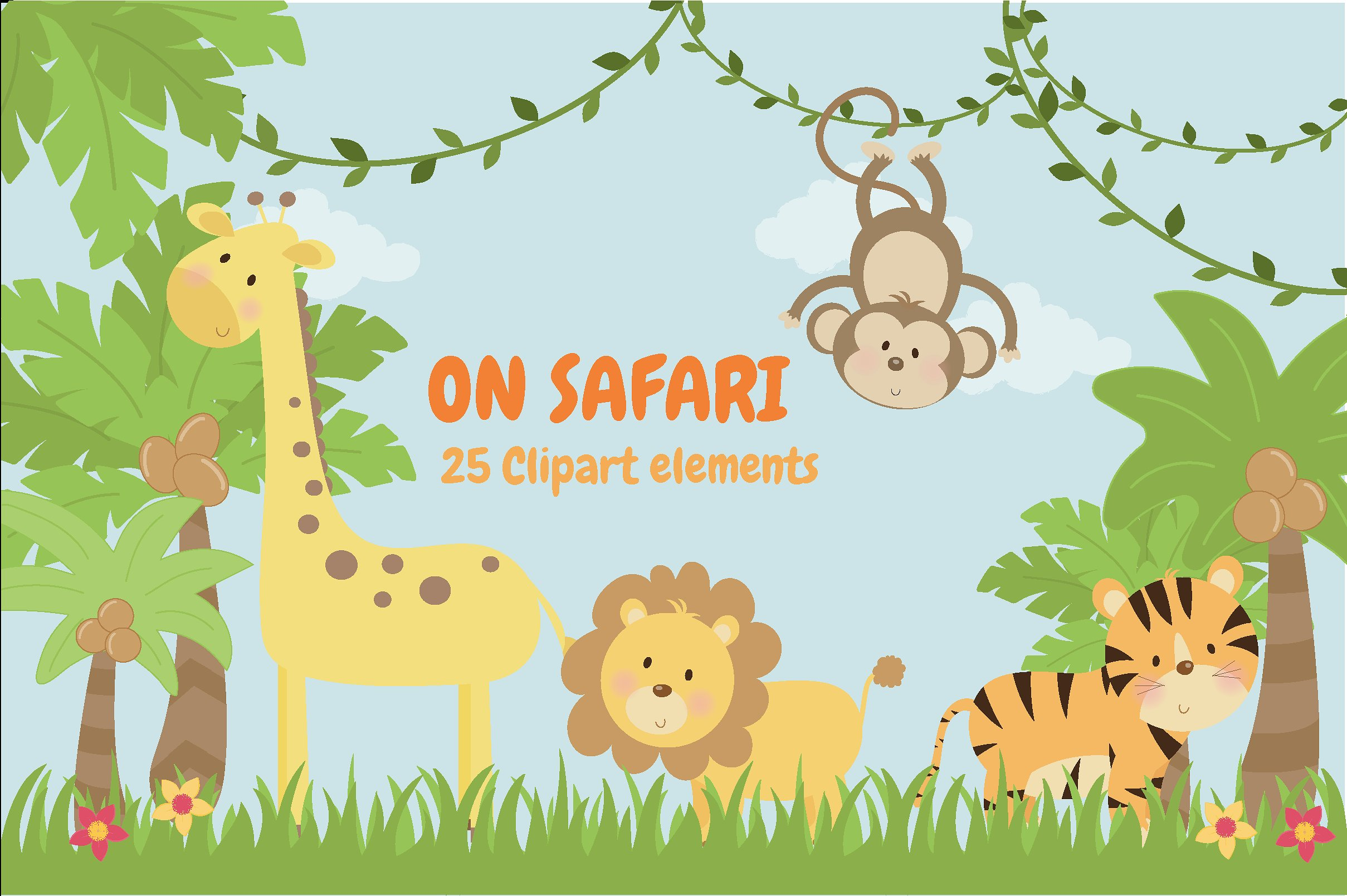 Safari clipart safari themed. On illustrations creative market
