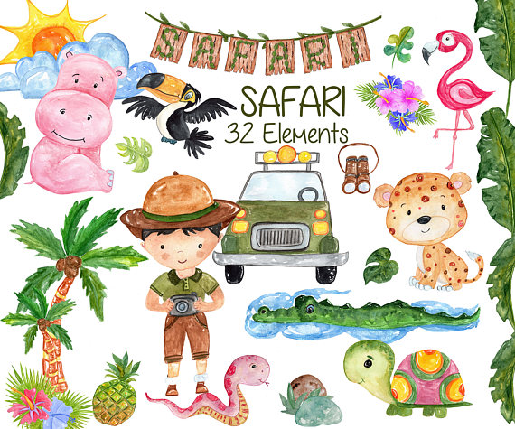 Safari clipart wild safari. Watercolor animals african animalscute