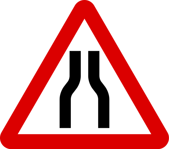 Safe clipart safety signage. Road narrows on both