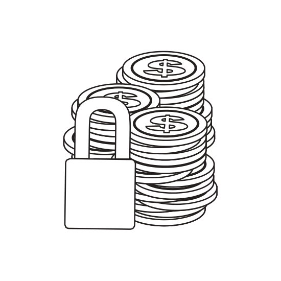 Safe drawing coin stack. Monochrome contour of coins