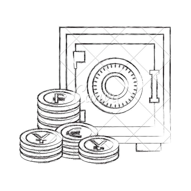 Safe drawing money stack. Business box coins icons