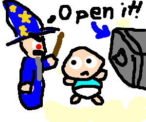 Safe drawing open. Evil wizard orders baby