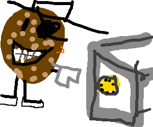 Safe drawing open. Potato pirate attempts to