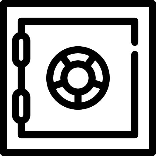 Safe vector bank. Box free security icons