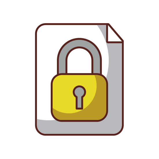 Safe vector padlock. Paper with secure icon