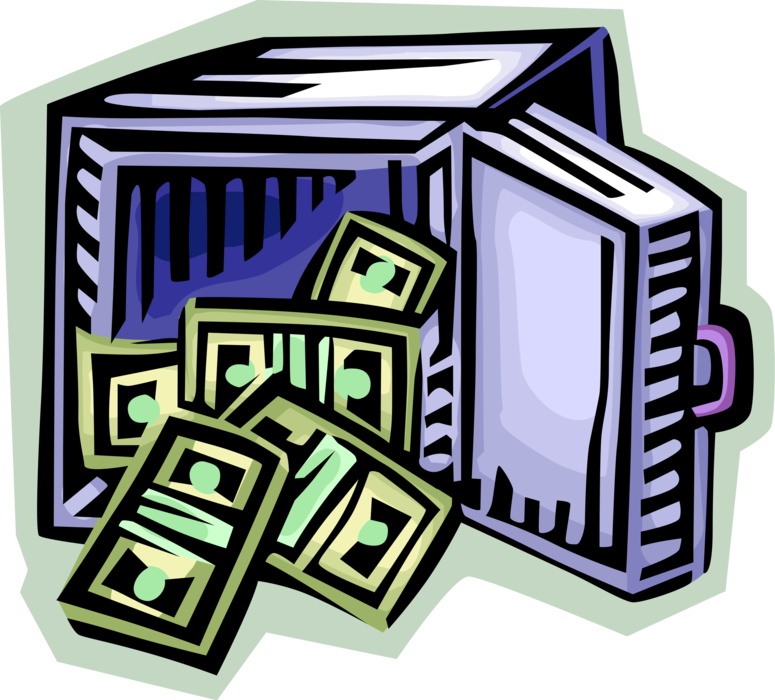 Safe vector vault. Open bank with dollar