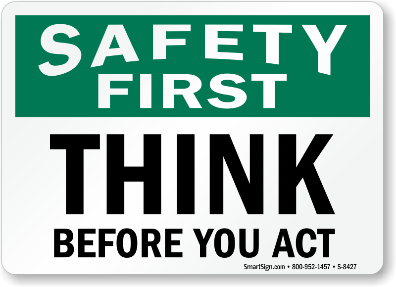Safety clipart act. First think before you