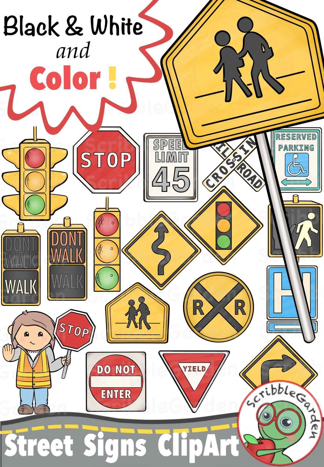 Safety instruction. Road street signs clipart