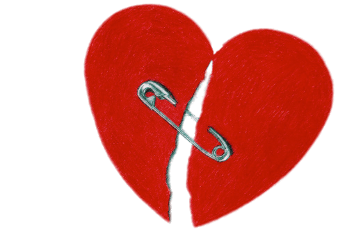 Safety pin heart png. Broken with transparent stickpng