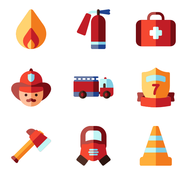 Safety vector fire icon. Extinguisher icons free department