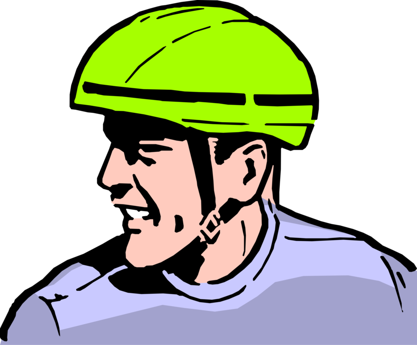 Safety vector helmet. Wearing bicycle image illustration