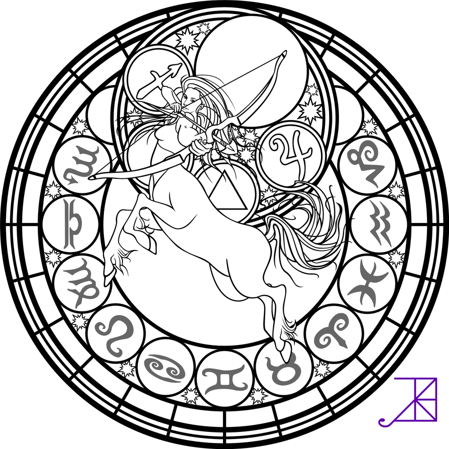 Sagittarius drawing zodiac. Stained glass coloring page