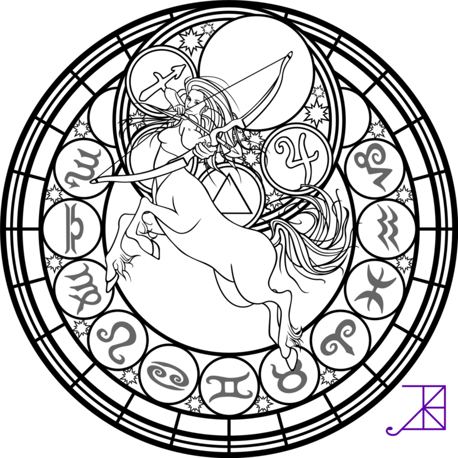Sagittarius drawing demonic. Zodiac stained glass coloring