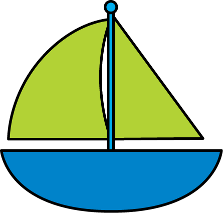 Green ship. Free sail boat cliparts