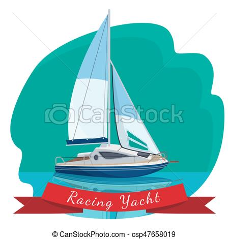 Sail clipart drift boat. Racing yacht with sails image stock