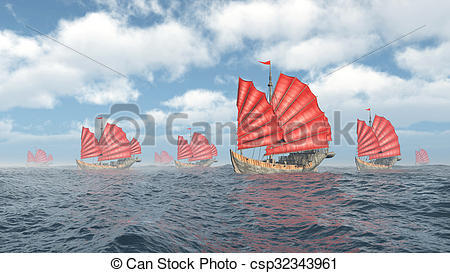 Computer generated d illustration. Sail clipart fleet ship graphic stock