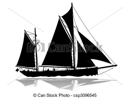 Sailing boat silhouette detailed. Sail clipart large ship graphic black and white library
