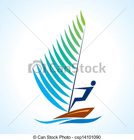 Sailing symbol, sport serieswith boat.