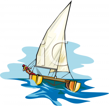 Sail clipart sale boat. Person on a catamaran jpg royalty free library