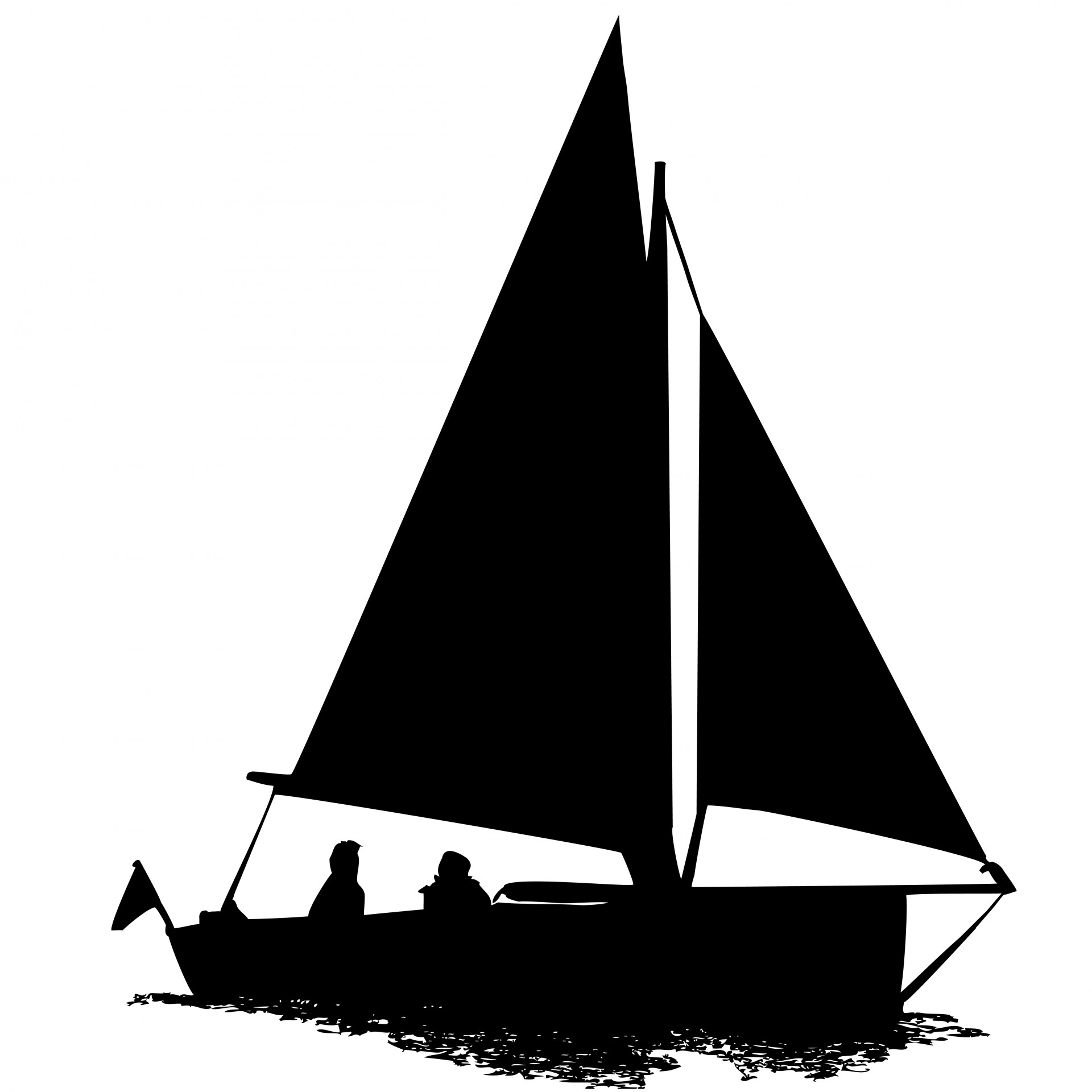 Sail clipart sale boat. Sailing silhouette free stock