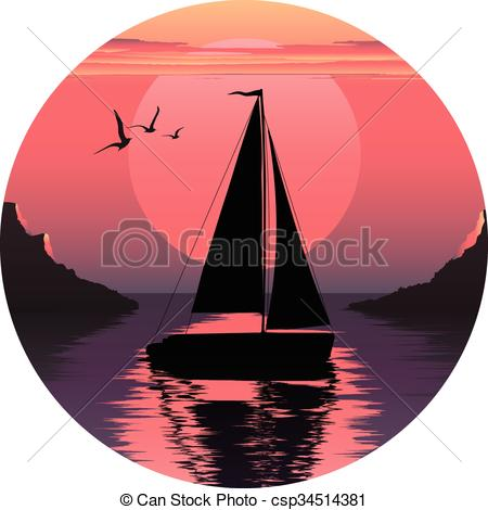 Vector illustration of sailing. Sail clipart sunset vector free library