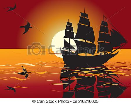 Sailing vessel in tranquil. Sail clipart sunset svg library stock