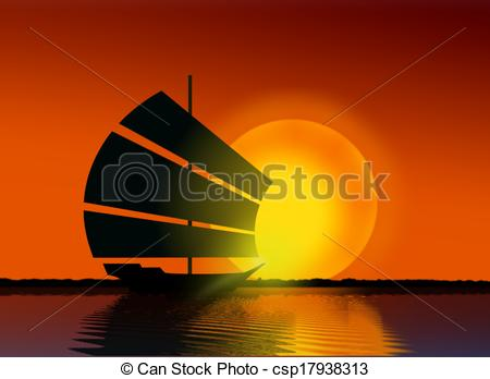 Ship sailing at sea. Sail clipart sunset png free stock