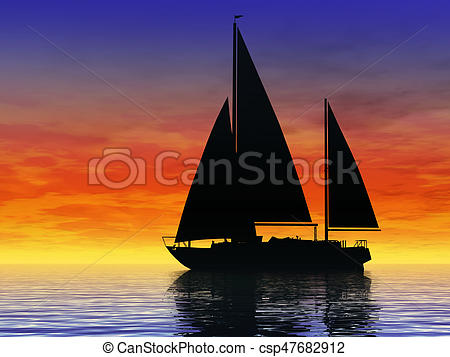 Sail clipart sunset. Sailing at sailboat on picture free library