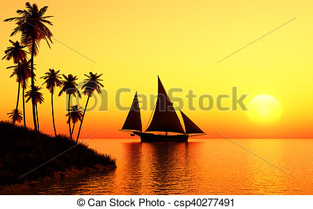This image shows sailing. Sail clipart sunset png transparent