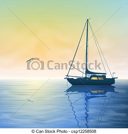 A sailing boat with. Sail clipart sunset graphic black and white stock