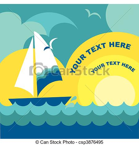 Sail clipart sunset. View with sailing yacht image stock