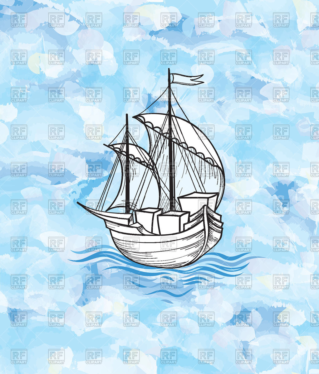 Sailing over ocean waves. Sail clipart tall ship vector black and white